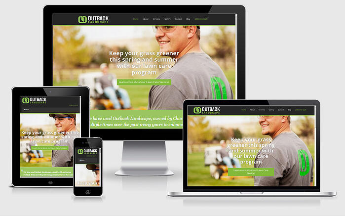 Responsive website design example from Outback Landscaping