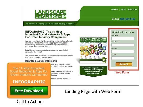 landing page landscape industry website