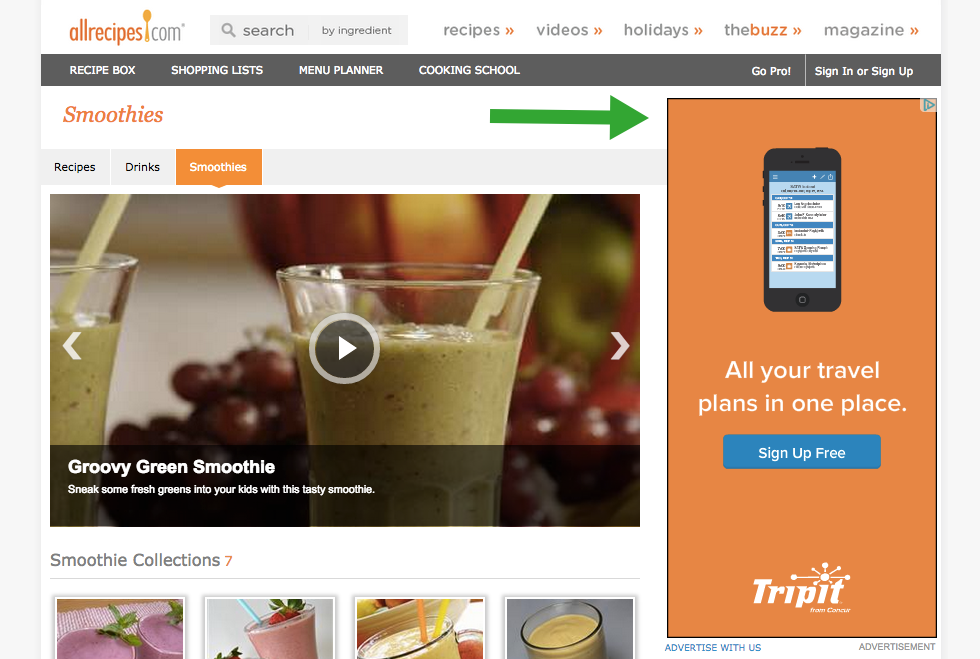 Allrecipes and Tripit retargeting display ad