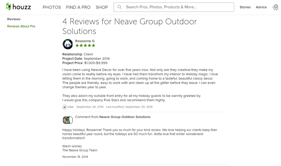 Neave Group Comments on Houzz for Landscape Marketing