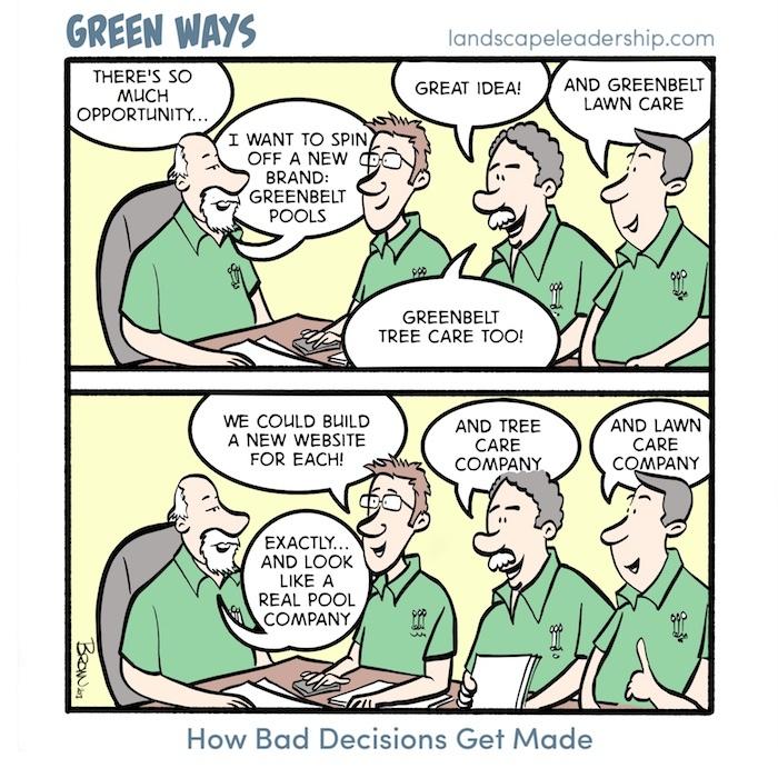 Green Ways comic Bad Branding Decisions