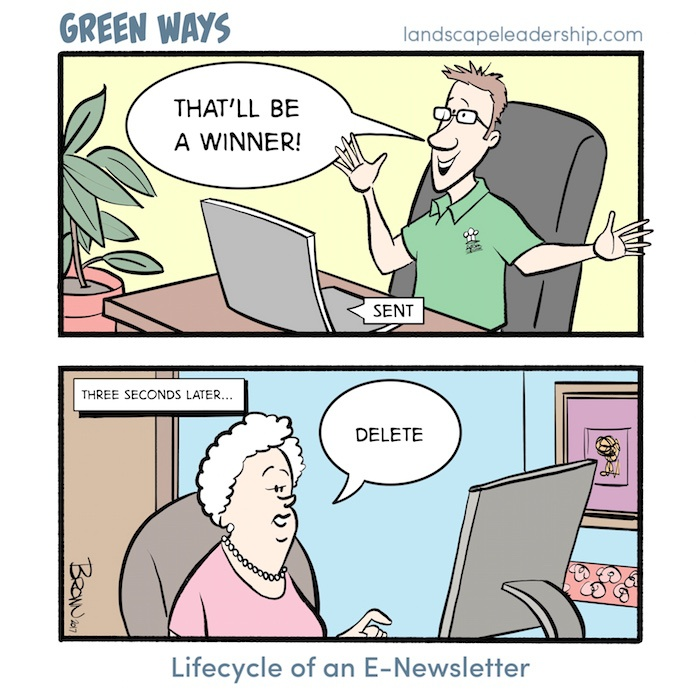 Green Ways comic: email marketing and newsletters