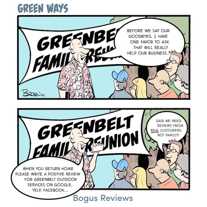 Bogus Reviews Green Ways comic