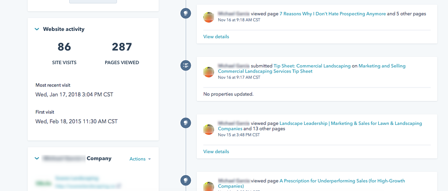 website activity and lead intelligence in the HubSpot CRM