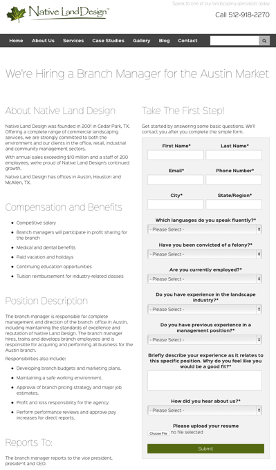 Native Land Design Careers and recruiting page
