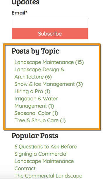 Blog posts organized by topic or category