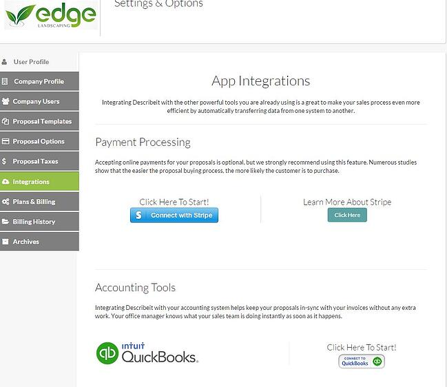 Describeit integrates with other software like Quickbooks and Stripe
