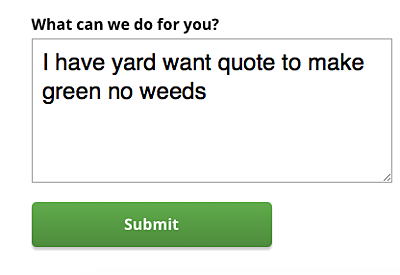 Typical quote request for lawn care through Google Adwords