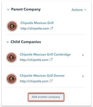 parent child companies in HubSpot CRM