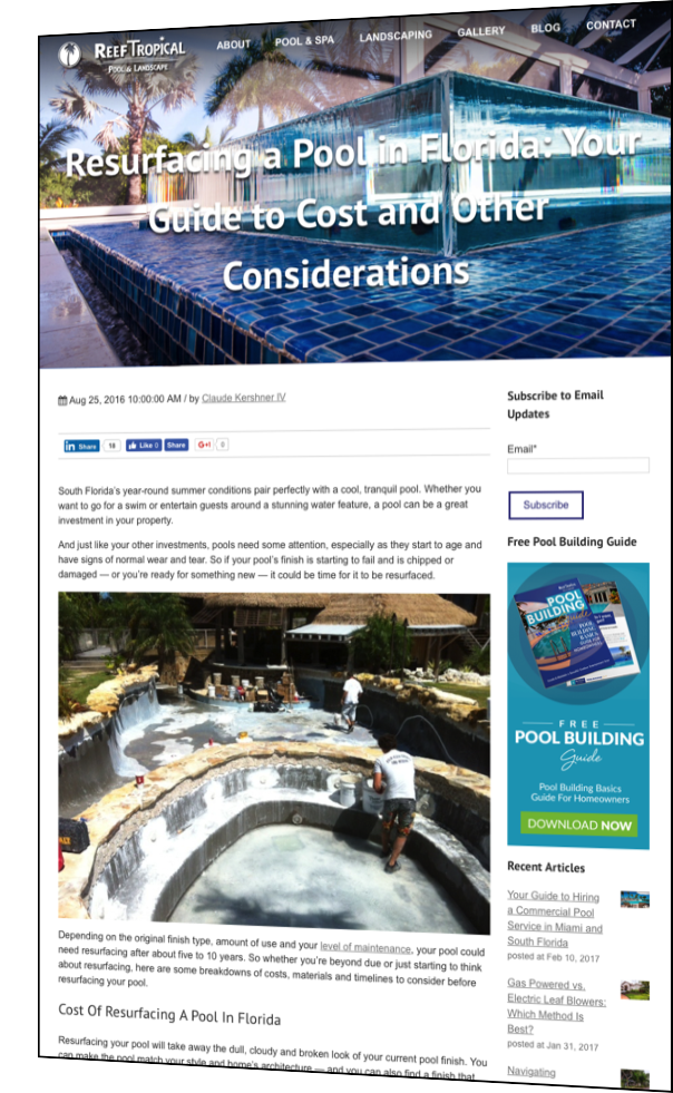 Cost blog post example from Reef Tropical Pool and Landscaping