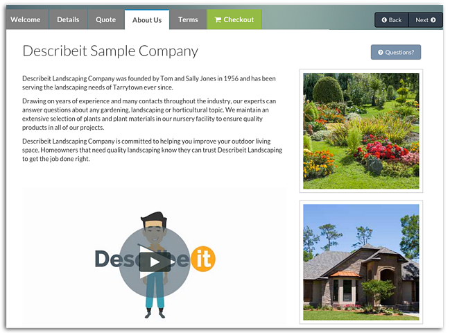 Example of landscape company profile in Describeit app