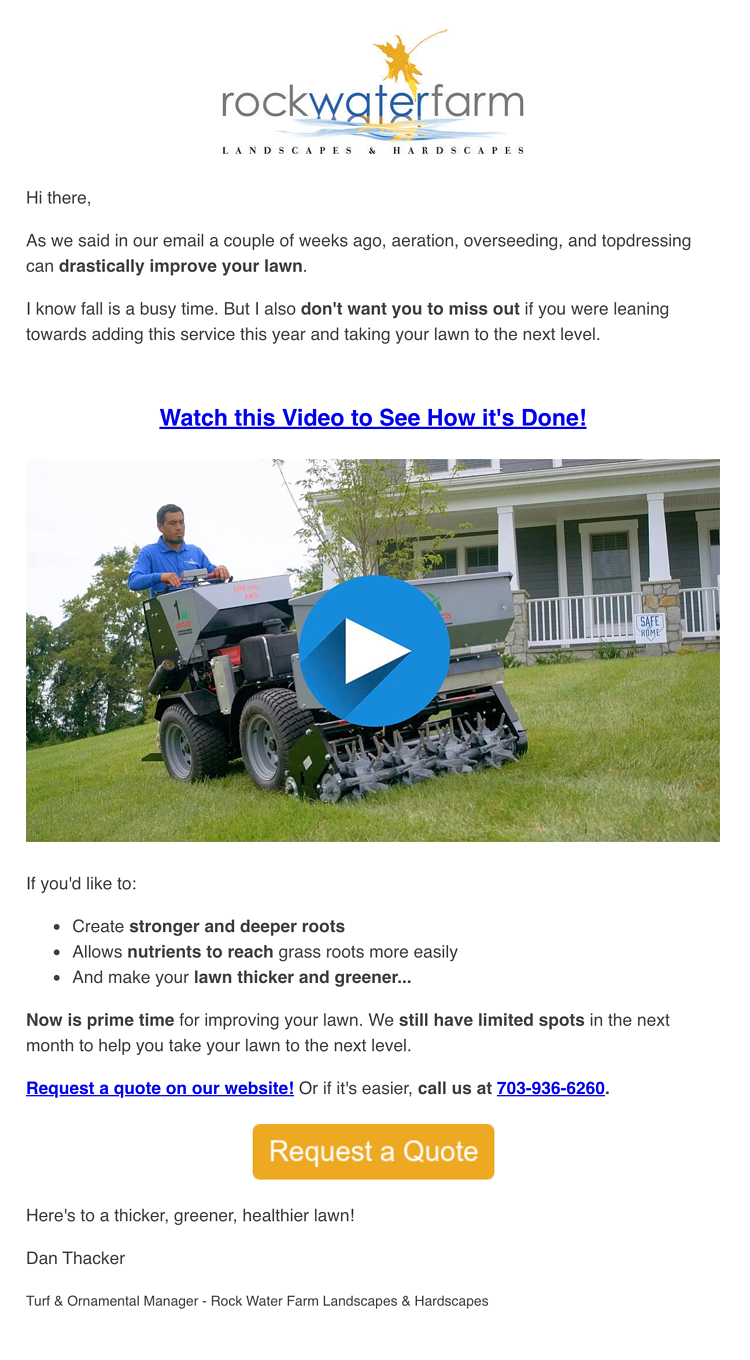 Rock Water Farm aeration email