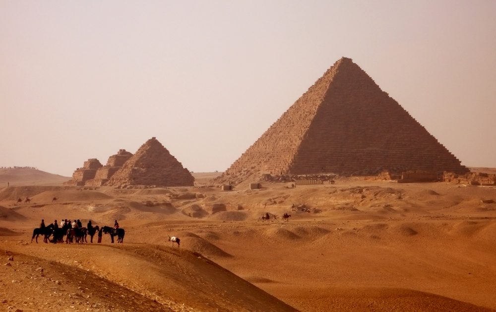 gizah pyramids in Egypt near Cairo at sunset.jpeg