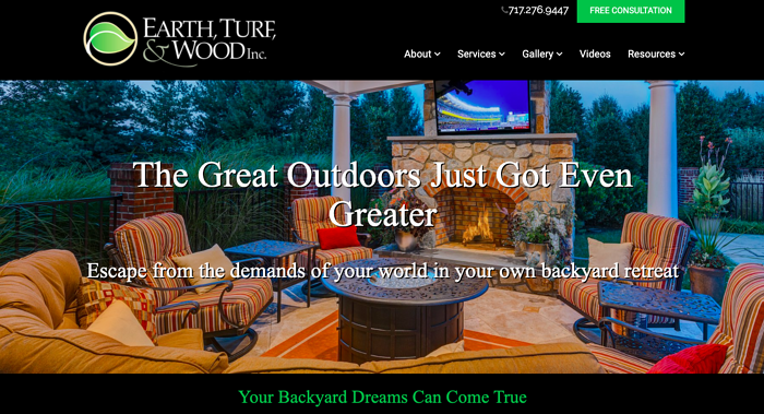 earth turf wood landscape design website homepage
