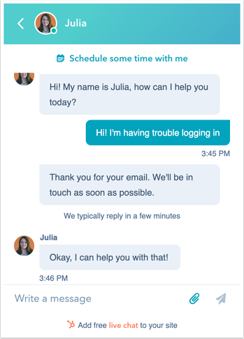 HubSpot live chat example