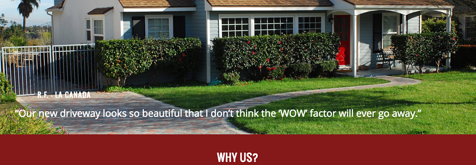 Pacific Pavingstone gives social proof with a customer testimonial on their homepage.