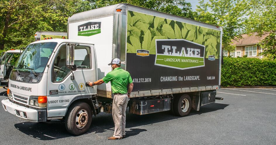 Great example of wrapping a landscaping box truck.