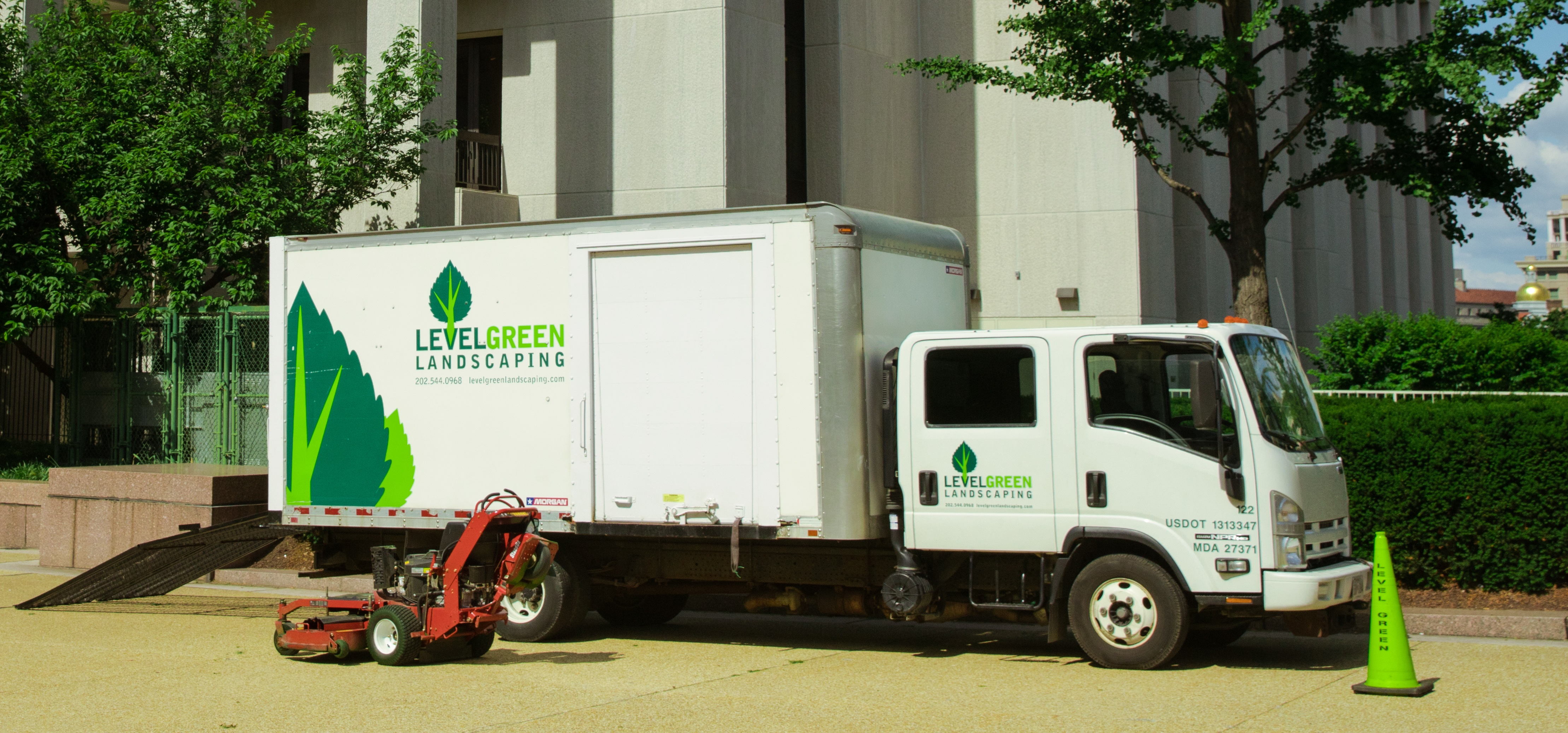 Example of box truck wrap on landscaping truck.