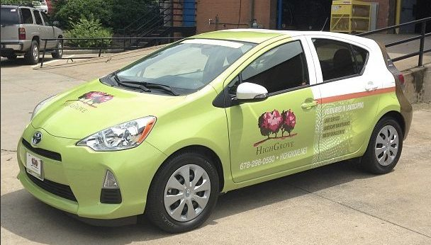 Wrapping landscaping trucks and cars is a great way to advertise your business.