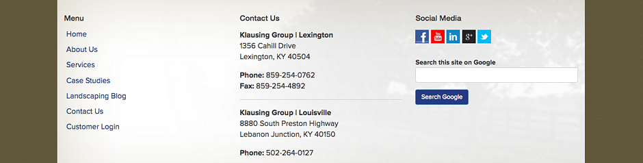 Klausing Group locations listed in their website footer.