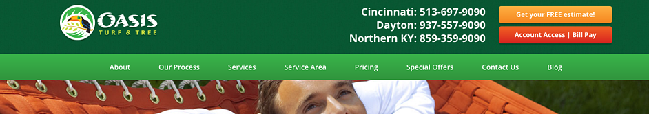 Oasis Turf & Tree location and contact info in their website header.