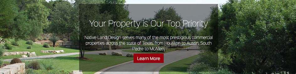 Native Land Design CTA in the hero image on their website homepage.