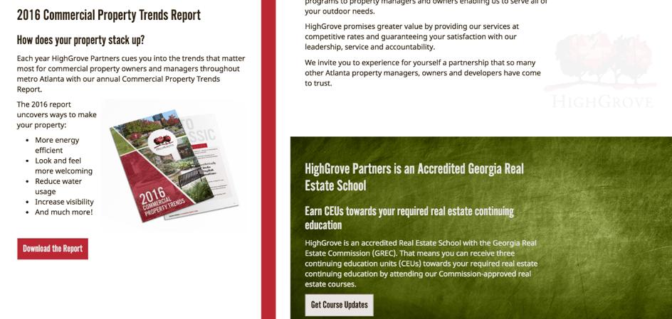 Multiple CTAs on Highgrove Partners website homepage.
