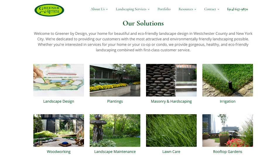 Greener by Design website home page shows secondary CTAs.