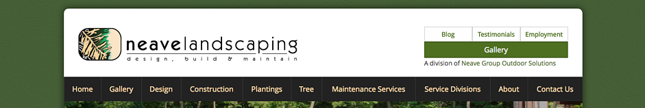 Neave Landscaping offers a search bar in the header on their website.