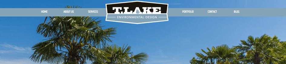 T. Lake Environmental Design logo on their website homepage.