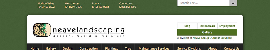 Neave Landscaping logo on their website homepage.