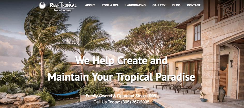 Reef Tropical hero image on their website homepage.