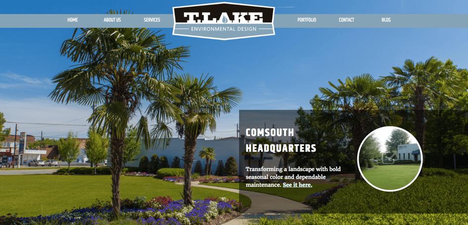 T. Lake Environmental design case study hero image on their website homepage.