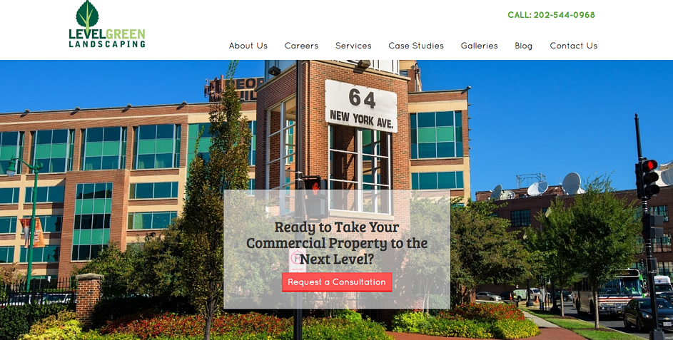 Level Green Landscaping CTA in their hero image on their website homepage.