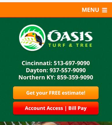 Oasis Turf & Tree menu on their mobile website homepage.