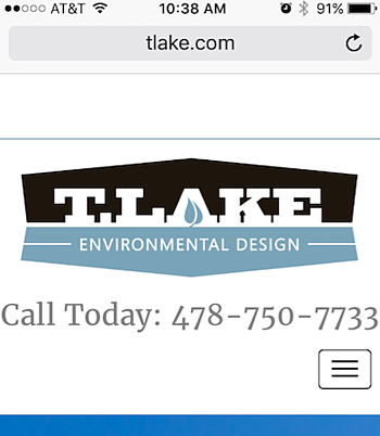 T. Lake Environmental Design logo on their mobile homepage.
